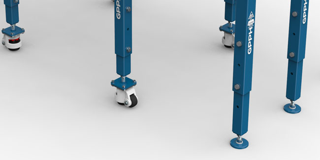 Fixed supports or optionally with wheels with an extendable foot.