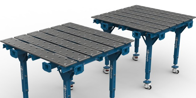 Flexibility of the number of welding stations due to the ability to join or divide welding tables.