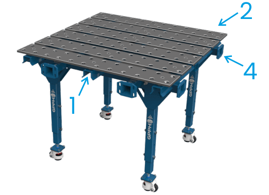 The modular GPPH table consists of a rigid metal frame, connection brackets, and adjustable perforated plates.