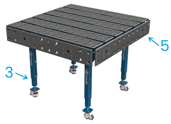 The modular GPPH table also has adjustable legs and optional side plates.